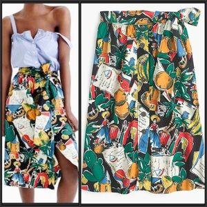 J Crew A-Line Button Up Postcard Print Skirt